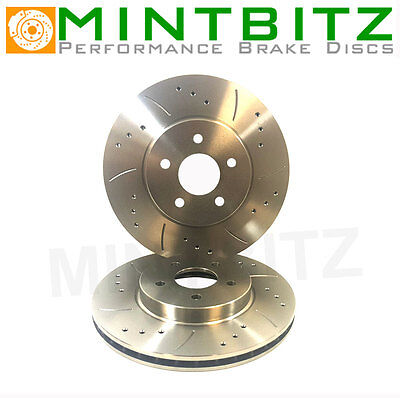 VW Golf Mk5 R32 3.2 Scirocco R 2.0 TFsi Drilled Grooved Front Brake Discs 345mm