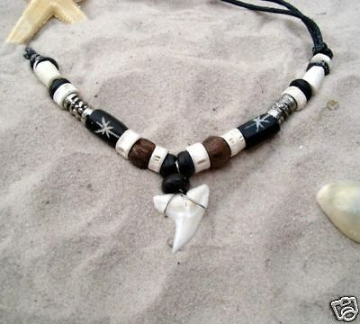 REAL SHARK TOOTH NECKLACE SURFER TALISMAN / n187cvi
