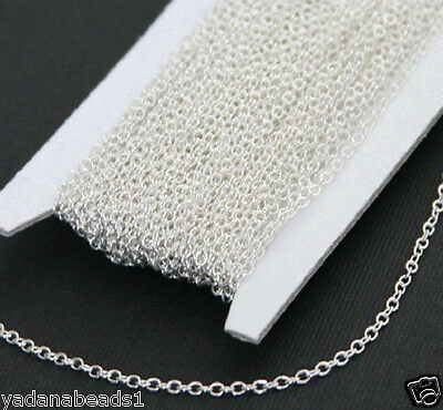Wholesale 100ft Spool Silver plated Round Cable Chain