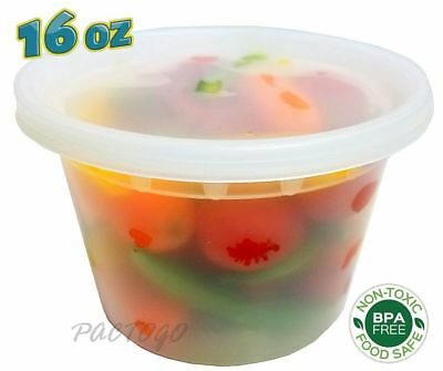 16 oz. Clear Microwaveable DELItainer Deli Food Freezer Container w/Lid 240 Pack