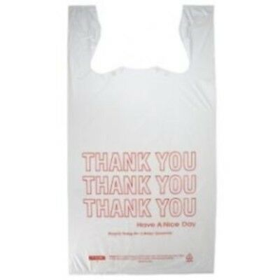 "Small T-Shirt HDPE Thank You Plastic Shopping Grocery Bags 8""x 4""x 16"" - 1000/CS"