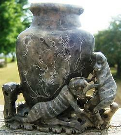 Antique Hand Carved Soap Stone Monkey Vase 16265 China