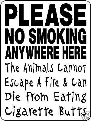 Please No Smoking, Aluminum Sign, Animals Barn 3322