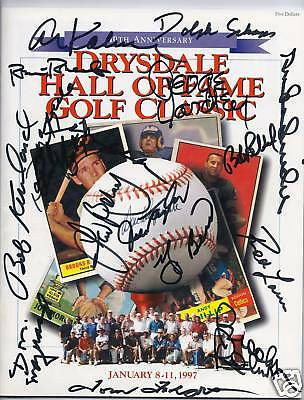 Autographed 1997 Hall Of Fame Program 15 Signatures