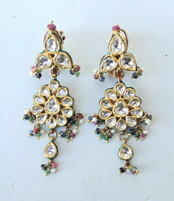 Vintage Antique 22 K Gold Diamond Kundan Meena Earring