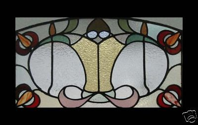 Rare Art Nouveau Floral Antique English Stained Glass Window