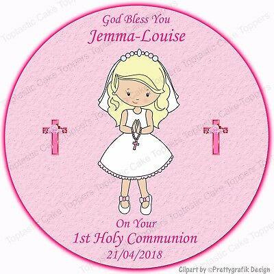 Personalised Pink Girls First 1st Holy Communion Edible Icing Party Cake Topper
