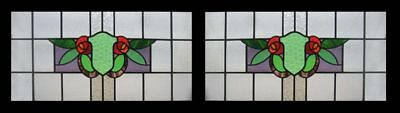 Stunning Mackintosh Rose Pair Antique English Stained Glass Windows