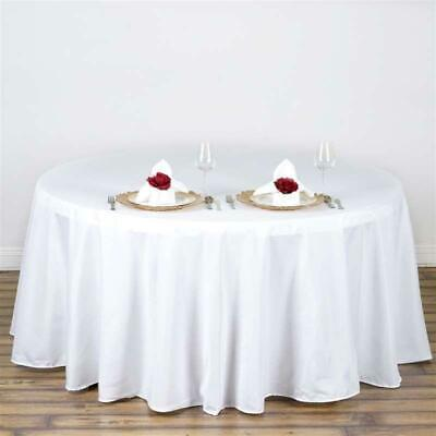 "10 Pack of 132"" Round High Quality Tablecloths - WHITE"