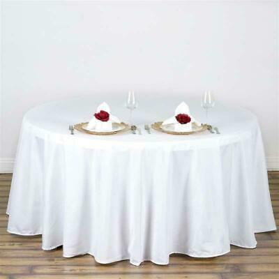 "10 Pack132"" Round High Quality White Polyester Tablecloths Made in USA"