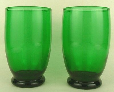 2 Vintage Forest Emerald Green Glass 10 oz Tumblers