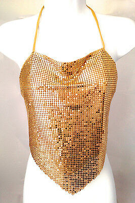 women Metal Mesh Halter Clubwear top chain lingerie Rave white red gold silver