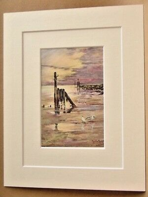 Littlehampton Very Rare Antique Double Mounted Print 1908 10X8 Overall Randall
