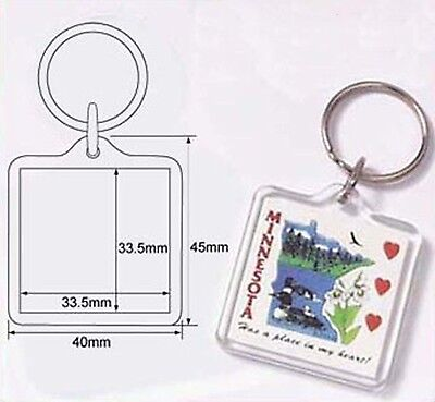 100 Blank Acrylic Keychain 34x34 DIY Photo Keyring 9012