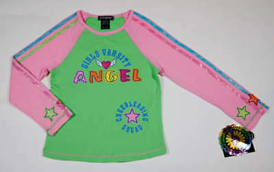 Great Escape Girls Size 6X Top Nwt Pink Green Angel Girls Varsity Cheerleading
