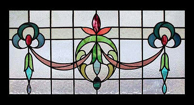 Art Nouveau Floral English Antique Stained Glass Window Stunning