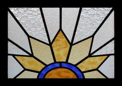 Glorious English Art Deco Sunburst Stained Glass Window