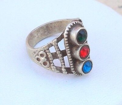 Vintage Antique Ethnic Tribal Old Silver Ring Belly Dance Rajasthan India