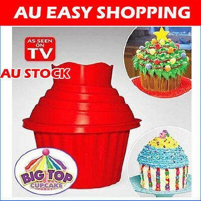 Silicone Giant Cupcake Muffin Mould Big top bake cake Christmas party + Bonus