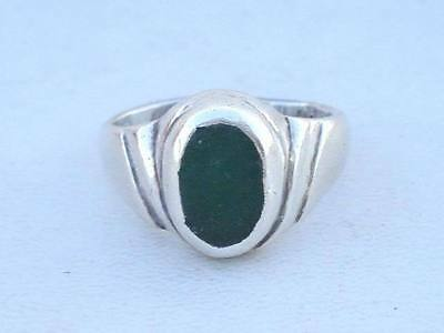 Vintage Antique Ethnic Tribal Old Silver Onyx Ring Ind