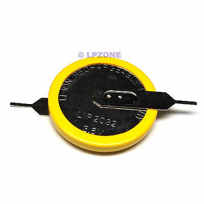 Li-ion Rechargeable LiR2032 Coin Cell Battery w/H Tab