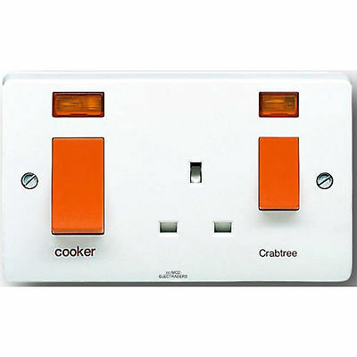 Crabtree 4521/31 Cooker Control Unit 45 amp with 13 amp Socket and Neons