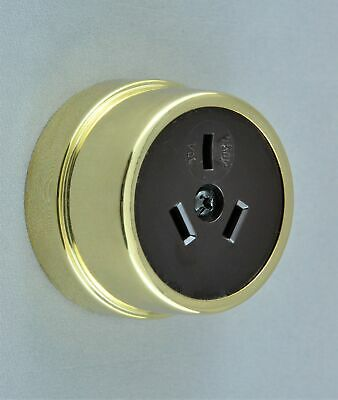 POWER OUTLET-VICTORIAN STYLE-POLISHED BRASS-heritage vintage retro-NEW-approved