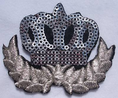 10 x fabric SILV sequin CROWN iron-on HOTFIX patch applique
