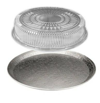 """12"""" Round Flat Aluminum Foil Catering  Serving Tray w/Clear Dome Lid 50/CS"""