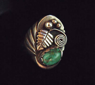 Heavy Sterling & Turquoise Ring  - Navajo Handmade