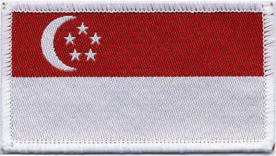 Singapore Flag, Woven Badge, Patch 8cm x 4.5cm