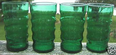 Paden City Glass Soda Fountain Green 8 Ounce Tumblers
