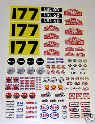 RC Tamiya Mini Monte Carlo Rally stickers Decals