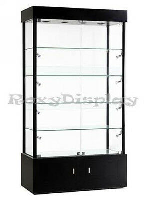 "40"" Black Tower Glass Showcase Store Fixture Display Assembled Case #SC-WL40BK"