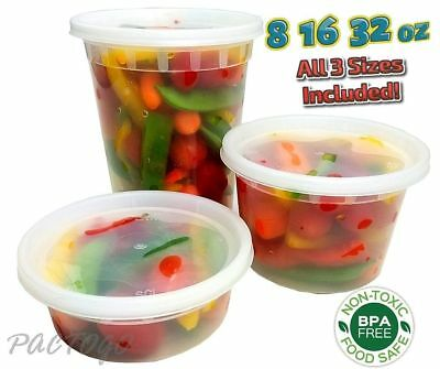 Pactiv 8 16 32 oz Clear DELItainer Deli Freezer Soup Food Container 48 Sets Each