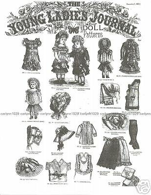 """Antique 1882 Young Ladies Journal 20"""" Doll Patterns"""