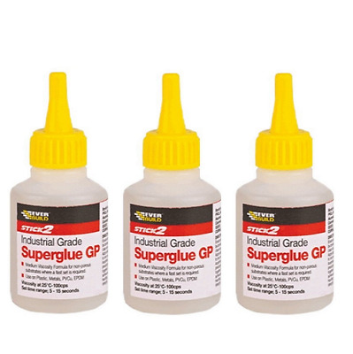 3 x Everbuild Industrial Grade GP Medium Viscosity Super Glue Adhesive Large 50g