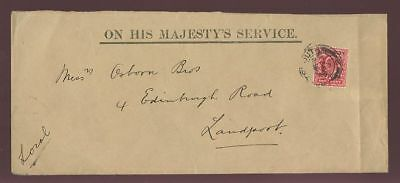 GB OFFICIAL ADMIRALTY KE7 1d SGO102 PORTSMOUTH on COVER