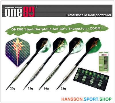 ONE80 Profi Steel Dart Dartpfeile 3er Set 80% Tungsten - ZOOM 22g