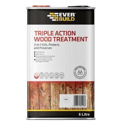 Everbuild Lumberjack Triple Action Wood Treatment Wet Dry Worm Insect Rot 5 Ltr