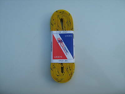 """Hockey Skate Laces 108"""" - 274cm YELLOW - WIDE WAXED"""
