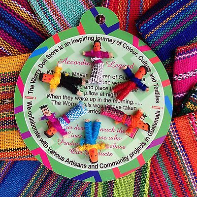 GUATEMALAN WORRY DOLLS -  TEXTILE BAG OF 6 DOLLS multi