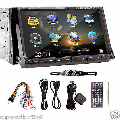 """2Din 7"""" TouchScreen Car Stereo DVD Player GPS Map BT Ipod TV Rearview Camera"""