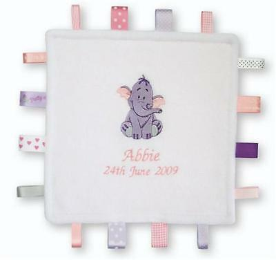 PERSONALISED Heffalump Taggy Comfort Blanket  Taggies Soft Toy Christening Gift
