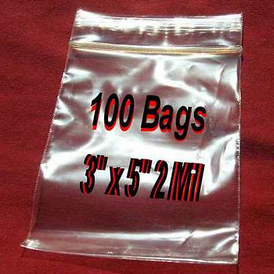 """100 3""""x 5"""" Clear Ziplock Plastic resealable Poly BAGS-2Mil Jewelry-High Clarity"""