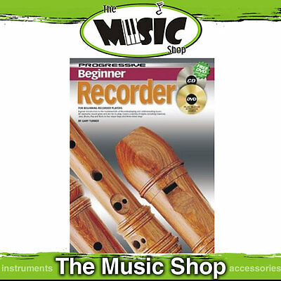 Progressive Beginner Recorder Tuition Music Book with CD & DVD