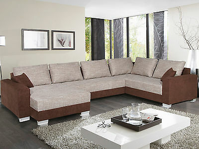 wohnlandschaft abby ecksofa sofa in braun und beige mit bettfunktion eur 599 95 picclick de. Black Bedroom Furniture Sets. Home Design Ideas