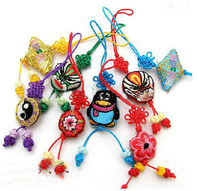 Wholesale10pcs Chinese Handmade Embroiderd Knot&Handbag&Moble Phone Strap Charms