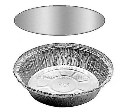 "7"" Round Aluminum Foil Take-Out Food Pan w/Board Lid Combo 200 PK - Disposable"
