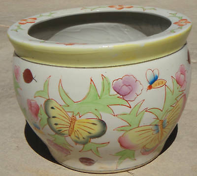 Butterfly Chinese Japanese Asian Art Enamel Pot Planter